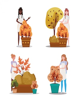 Gruppo di donne con piante autunnali