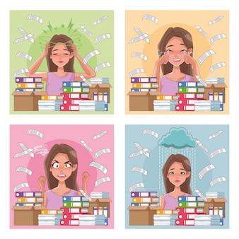 Gruppo di donne con sintomi di stress e documenti pila