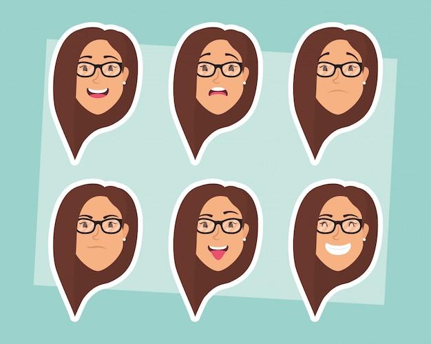 Gruppo di donne con teste di occhiali ed espressioni