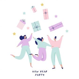 Gruppo di donne felici che saltano e che prendono i grandi contenitori di regalo. illustrazione di felice anno nuovo per banner, cartoline.