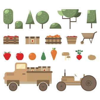 Gruppo di elementi di agricoltura e giardinaggio