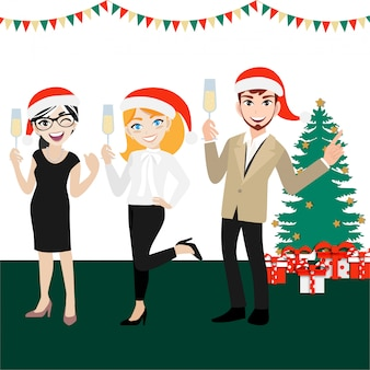 Gruppo di festa felice di uomini d'affari con personaggio dei cartoni animati, buon natale e felice anno nuovo