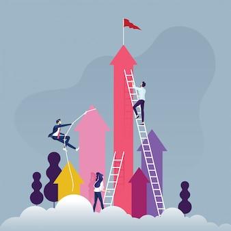 Gruppo di gente di affari competitiva che sale la scala su una nuvola