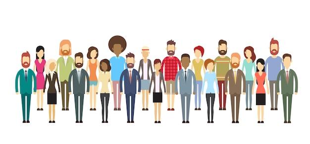 Gruppo di gente di affari le grandi persone di affari della folla si mescolano etnico