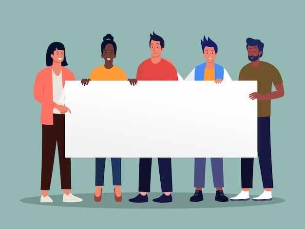 Gruppo di gente felice che tiene concetto in bianco dell'illustrazione dell'insegna, uomo e donna che tengono il bordo bianco del segno, aletta di filatoio