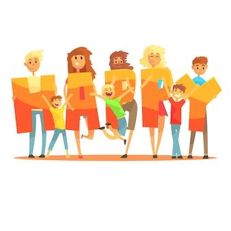 Gruppo di gente sorridente che tiene l'illustrazione variopinta del fumetto felice di parola