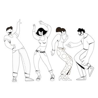 Gruppo di giovani ballerini felici o ballerini maschii e femminili isolati