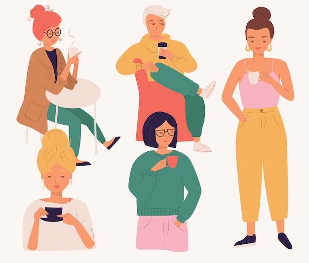 Gruppo di giovani che bevono caffè. le donne e l'uomo, i giovani, seduti e in piedi, godendo di una bevanda, piatto isolato