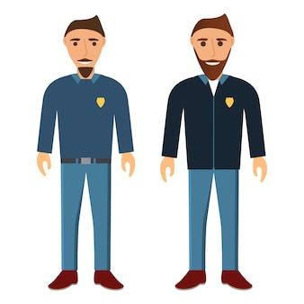 Gruppo di giovani con barba e baffi. gli uomini che lavorano nella polizia.