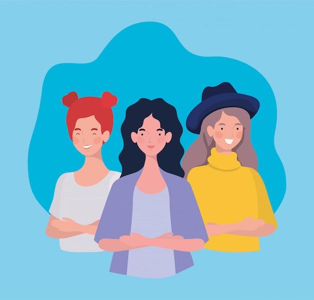Gruppo di giovani donne in piedi personaggi