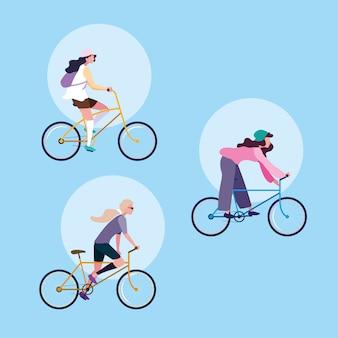 Gruppo di giovani donne in sella a bici avatar personaggio
