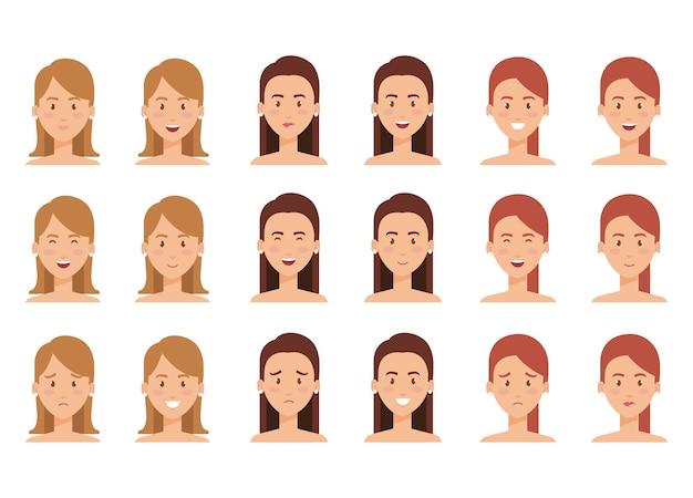 Gruppo di giovani donne pose e stili
