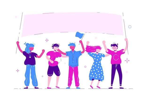 Gruppo di giovani e donne che stanno insieme e che tengono insegna in bianco.