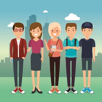 Gruppo di giovani generazione di milennials