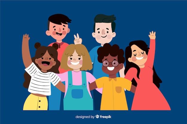 Gruppo di giovani in posa per una foto