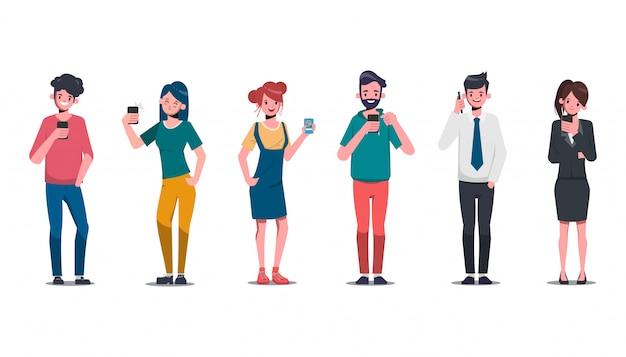 Gruppo di giovani personaggio nei social media e alla moda con lo smartphone. stile di vita comunicativo.