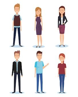Gruppo di giovani pose e stili