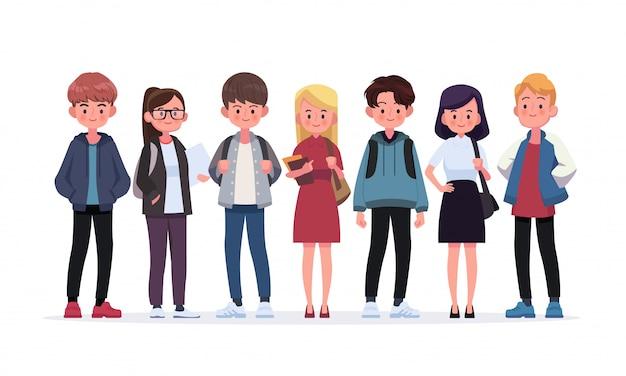 Gruppo di giovani studenti. illustrazione di stile piano isolato su bianco