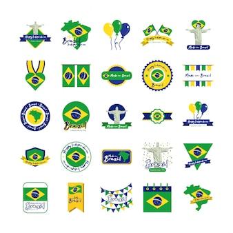 Gruppo di icone del giorno dell'indipendenza del brasile