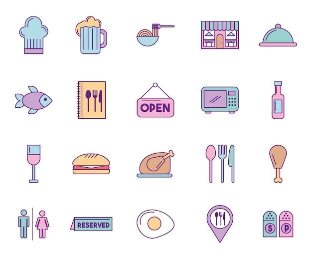 Gruppo di icone di servizio di ristorazione