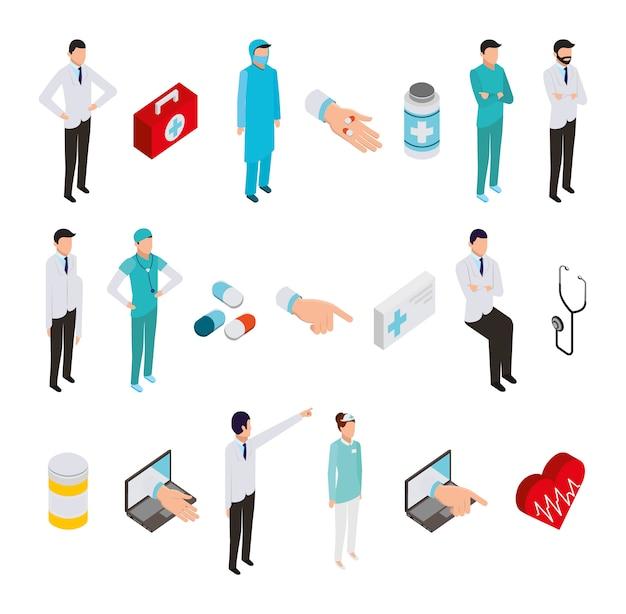 Gruppo di icone e personale medico professionale
