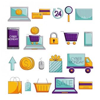 Gruppo di icone stabilite di commercio elettronico