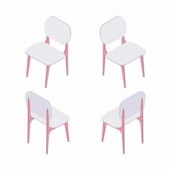 Gruppo di illustrazione isometrica di sedie bianche.