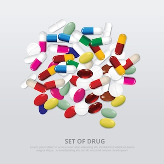 Gruppo di illustrazione realistica della droga