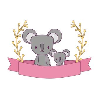 Gruppo di koala con rami e nastro