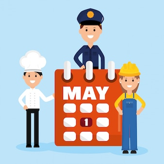 Gruppo di lavoratori professionisti con calendario