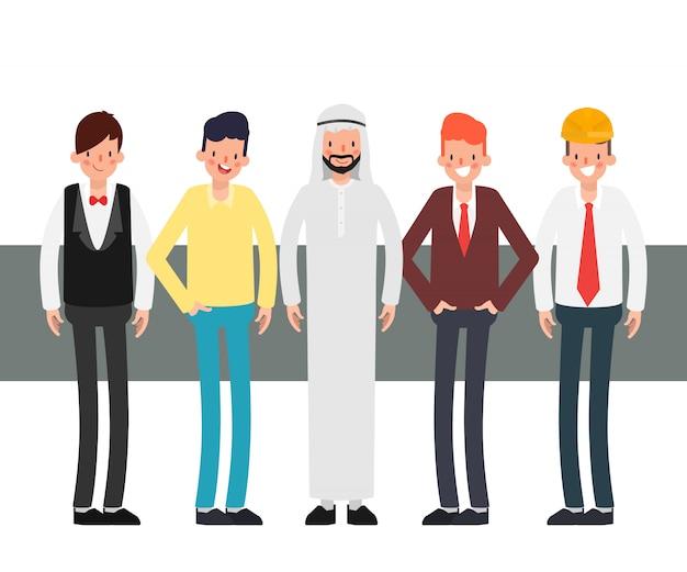 Gruppo di lavoro di squadra carattere internazionale di uomini d'affari.