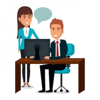 Gruppo di lavoro di squadra delle persone di affari nell'illustrazione del posto di lavoro