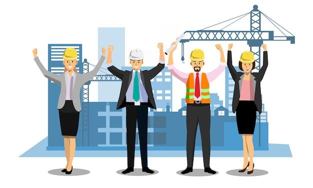 Gruppo di mani di ingegneri sollevate dopo aver raggiunto il progetto
