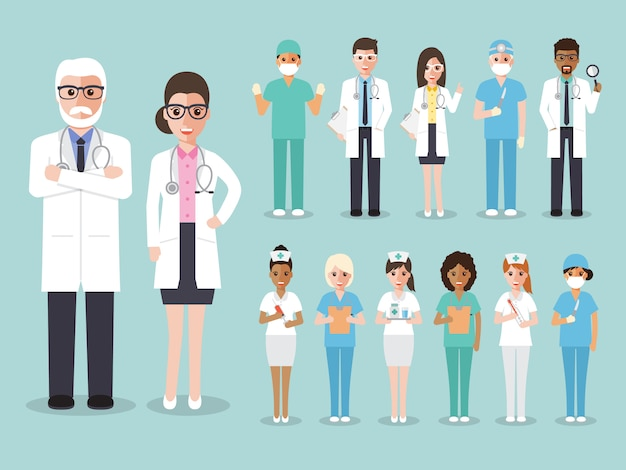 Gruppo di medici, infermieri e personale medico