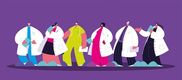Gruppo di medici, personale e equipe medica