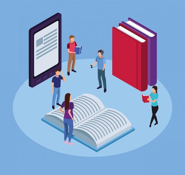 Gruppo di mini persone che leggono libri elettronici in tablet