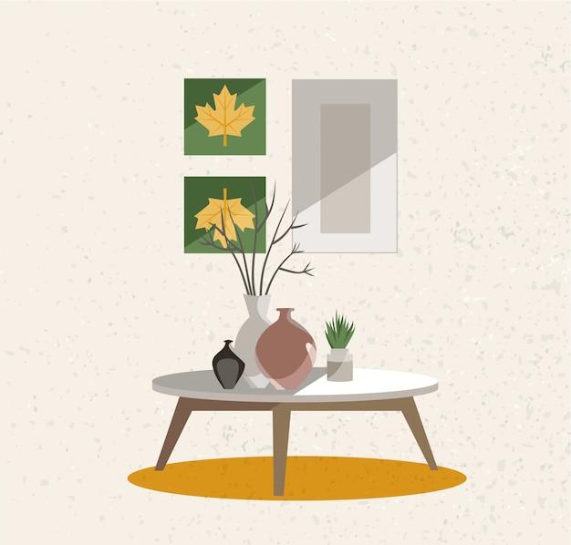 Gruppo di mobili per corridoio interno. un tavolo su gambe con vasi di terracotta. parete beige con trama ruvida.