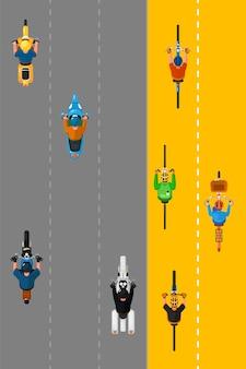 Gruppo di motociclisti e ciclisti. vista dall'alto di ciclisti gruppo di persone in bicicletta su pista ciclabile e motociclisti che guidano biciclette trasporto su strada di città. trasporto e concetto di traffico
