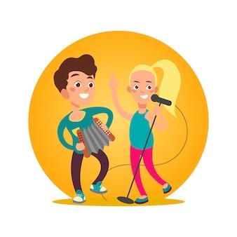 Gruppo di musicisti adolescenti. ragazza e ragazzo