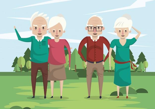 Gruppo di nonni coppie amanti nel campo