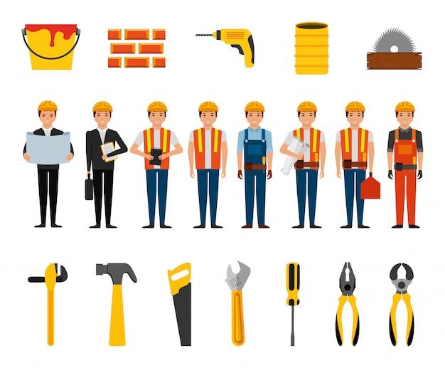 Gruppo di operai edili e strumenti