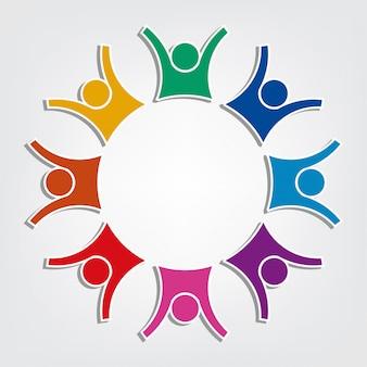 Gruppo di otto persone logo in un cerchio. holding di lavoro di squadra di persone