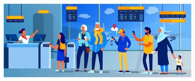 Gruppo di passeggeri in piedi in coda per contrastare