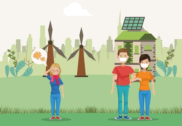 Gruppo di personaggi ambientalisti avatar