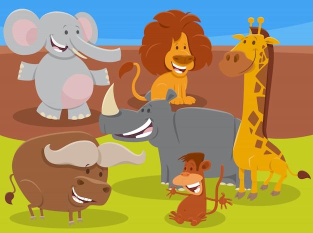 Gruppo di personaggi animali africani selvatici divertenti del fumetto