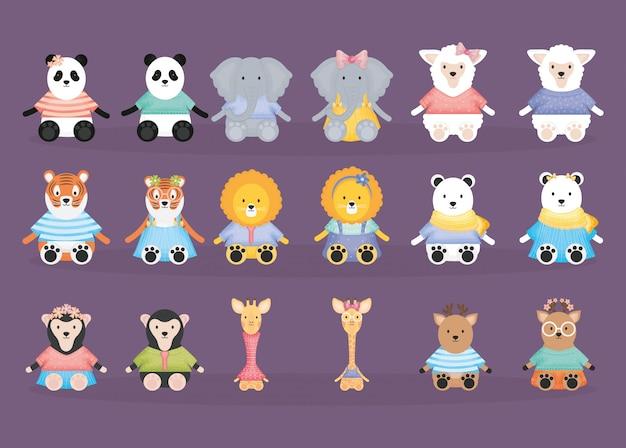 Gruppo di personaggi animali coppie