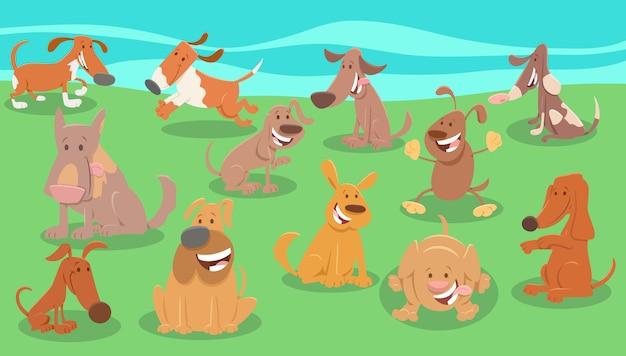 Gruppo di personaggi animali dei cartoni animati di cani comici