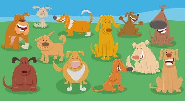 Gruppo di personaggi animali dei cartoni animati divertenti cani