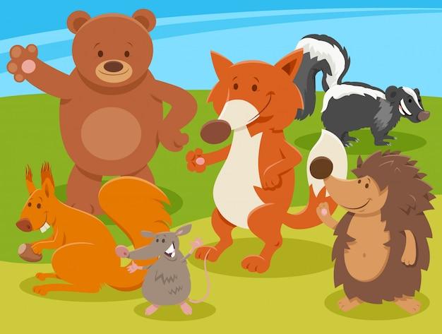 Gruppo di personaggi animali selvatici del fumetto felice
