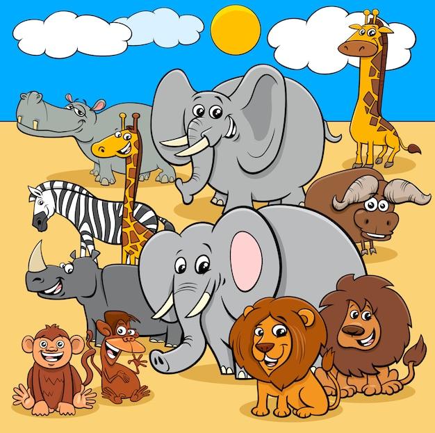 Gruppo di personaggi dei cartoni animati africani degli animali selvatici